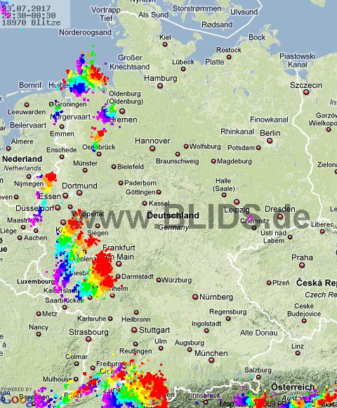 Lightning Germany 22:30 UTC Sat 22 Jul