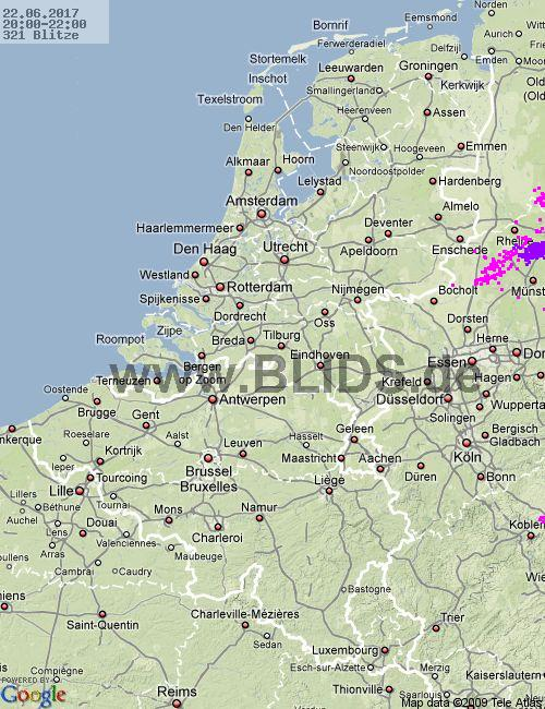 Lightning Netherlands 20:00 UTC Thu 22 Jun