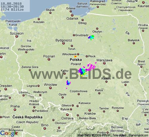 Lightning Poland 18:30 UTC Sat 18 Aug