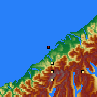 Nearby Forecast Locations - Ōkārito Lagoon - Map